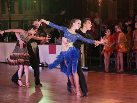 duet: MOSCOW - MARCH 19: Unidentified teens age 10-18 compete at artistic dances at European Artistic Dace Championship, organized by World Dance Artistic Federation on March 19, 2016, in Moscow.
