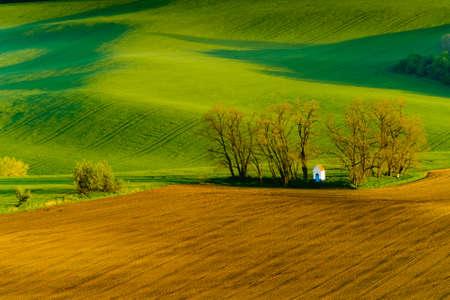 santa barbara: Santa Barbara chapel landscape at spring in South Moravia, Csezh Republic Stock Photo