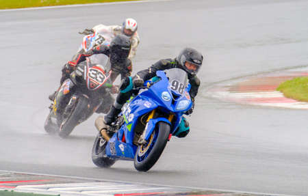 raceway: MOSCOW - JUNE 5: Unidentified rider participates in the Race Cup Moscow Region Governor on June 5, 2016 in Moscow Raceway Editorial