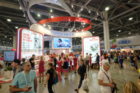 june 25: Moscow, Russia - June 25: People attend World Dog Show on June 25, 2016 in Crocus Expo Moscow