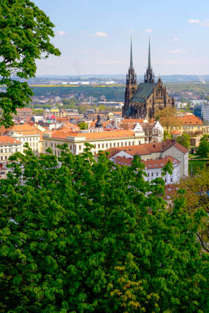 Brno, Czech Republic - April 29, 2016: Cathedral of Saints Peter and Paul at sunny day view from Spilberk castle
