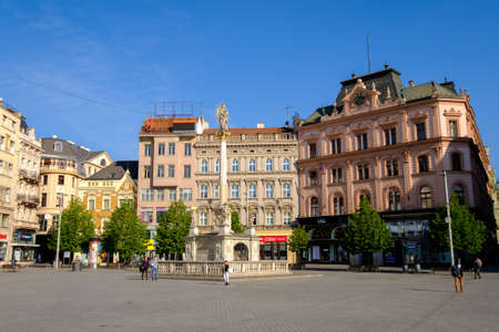 moravia: Brno, Czech Republic - April 30, 2016: People visit Freedom Square in old city at sunny day