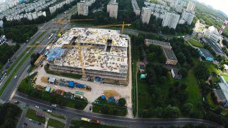 Baustelle in der Stadt Luftaufnahme Standard-Bild
