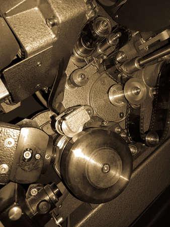 macro film: Old film projector details macro Stock Photo