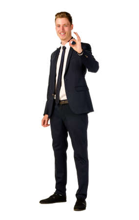 business sign: Young business man showing ok sign isolated Stock Photo
