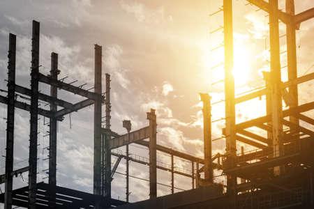 Construcción, sitio, ocaso
