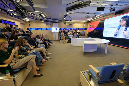 listeners: Moscow, Russia - September 2, 2016: People attend Digital Marketing Conference in Russia Today information agency small hall at day time.