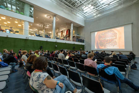 listeners: Moscow, Russia - September 3, 2016: People attend Digital Marketing Conference in big hall of Mail.ru internet company