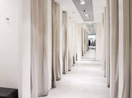 Fitting room interior in a mall. Nobody Foto de archivo