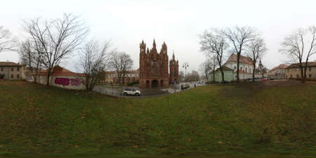 st bernard: St. Annes Church and Church of St. Francis and St. Bernard day time 360 vr panorama, Vilnius, Lithuania Stock Photo