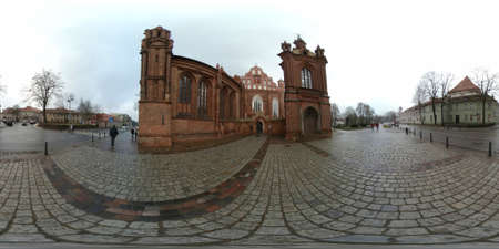 bernard: St. Annes Church and Church of St. Francis and St. Bernard day time 360 vr panorama, Vilnius, Lithuania Stock Photo