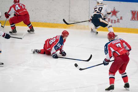 Chekhov, Russia - January 7, 2016: Hockey match between the teams Zvezda (Chekhov) and Orsk (Southern Urals) in Vityaz Ice Palace. Zvezda wins 4:2 Editorial