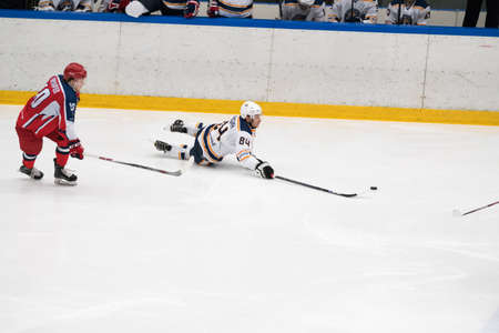 arbitro: Chekhov, Russia - January 7, 2016: Hockey match between the teams Zvezda (Chekhov) and Orsk (Southern Urals) in Vityaz Ice Palace. Zvezda wins 4:2 Editorial