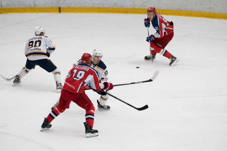 urals: Chekhov, Russia - January 7, 2016: Hockey match between the teams Zvezda (Chekhov) and Orsk (Southern Urals) in Vityaz Ice Palace. Zvezda wins 4:2 Editorial