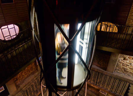astronomical: Elevator inside of Prague Astronomical Clock tower in Czech republic