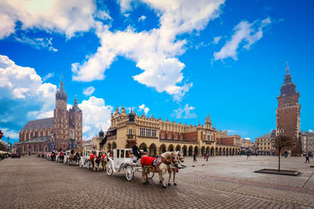 Main square in old city of Krakow, Poland Stock Photo