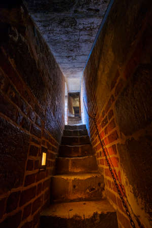 Narrow staircase in a medieval castle