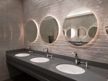 bathroom mirror: Modern public washroom interior design