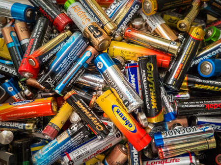 Kaliningrad, Russia - July 8, 2017: Used different size batteries for recycling in the mall Editorial