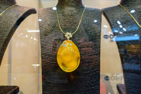 expensive: Jewelery from the Baltic amber macro Stock Photo