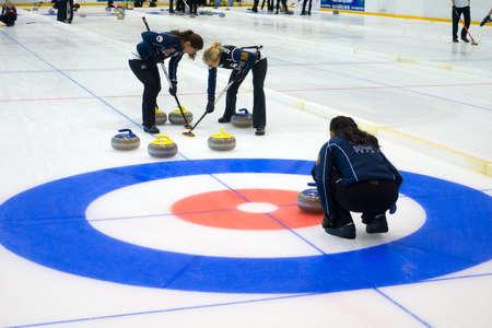 Svetlogorsk, Russia - August 5, 2017: Team members play in curling during IX international Medexpert Curling Cup Editorial