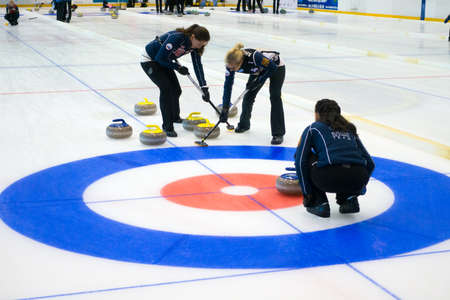 Svetlogorsk, Russia - August 5, 2017: Team members play in curling during IX international Medexpert Curling Cup Editorial