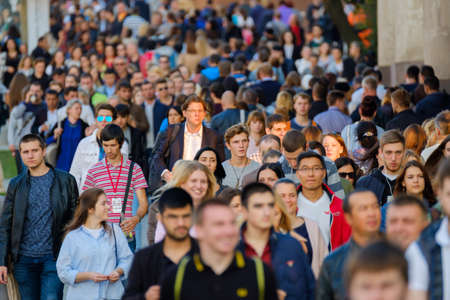 Moscow, Russia - September 9, 2017: Crowd of people walking on the street.