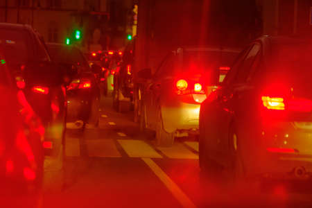 Traffic jam at the city centre back view at the night Stock Photo