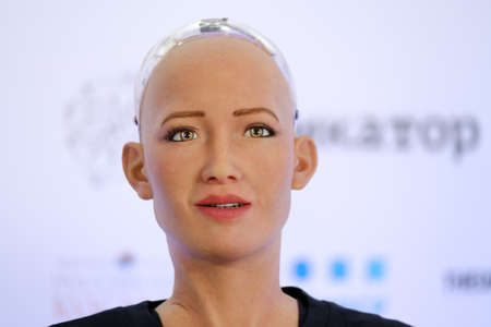 Moscow, Russia - October 1, 2017: Sophia humanoid robot speaking Russian at Open Innovations Conference at Skolokovo technopark