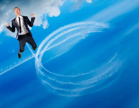 Happy businessman flies in blue sky, leaving behind a trail of white circles