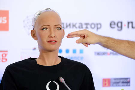 Moscow, Russia - October 1, 2017: Sophia humanoid robot at Open Innovations Conference at Skolokovo technopark