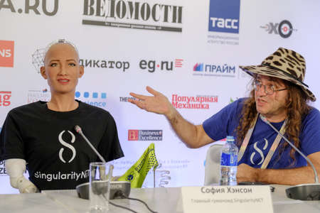 Moscow, Russia - October 1, 2017: Sophia humanoid robot and Dr. Ben Goertzel, CEO of SingularityNET at Open Innovations Conference at Skolokovo technopark Editorial