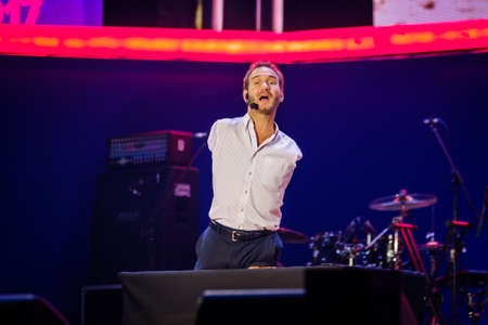 Moscow, Russia - November 27, 2017: Nicholas James Vujicic speaks at Global Synergy Forum 2017. He is an Australian Christian evangelist and motivational speaker born with tetra-amelia syndrome,