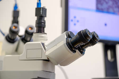 Professional digital microscope scientist background