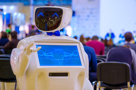 Robot welcomes the conference guests