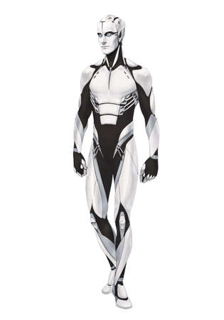 Futuristic cyborg illustration full body standing isolated on white background