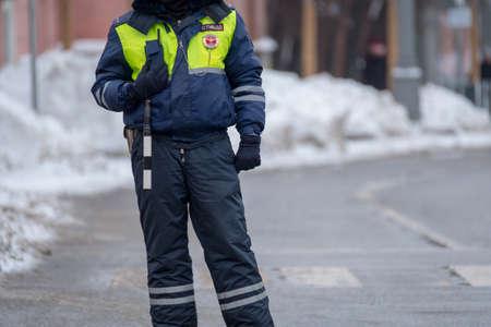 Traffic policeman on duty in winter