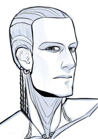Futuristic cyborg illustration portrait isolated on white background Stock Photo