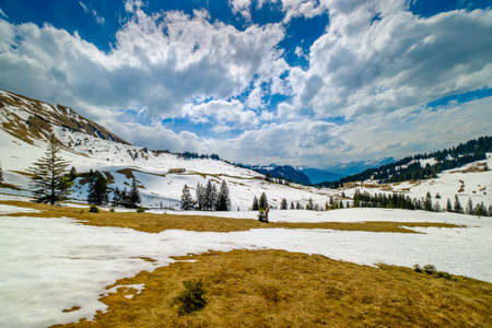 Beautiful Switzerland mountains landscape at April