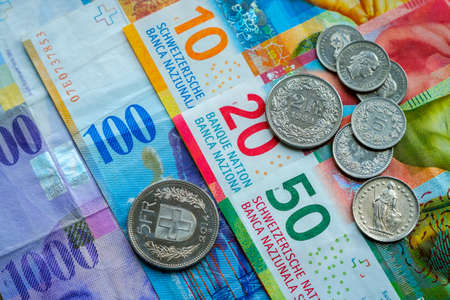 Switzerland money banknotes and coins Stock Photo - 102621844