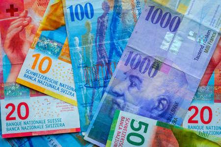 Switzerland money banknotes background texture 写真素材