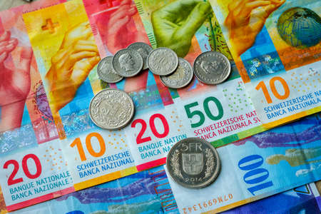 Switzerland money banknotes and coins