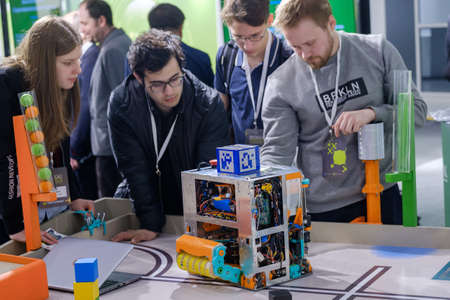 Moscow, Russia - April 24, 2018: Demonstration of new technologies at Skolkovo Robotics Forum