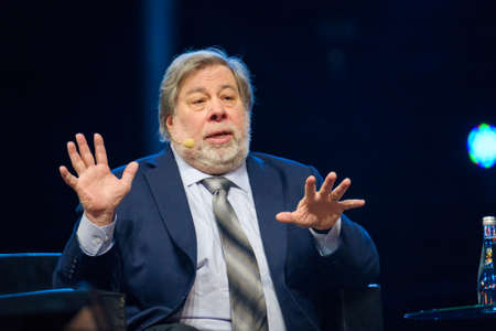Moscow - Russia, April 23, 2018: Stephen Wozniak performs at business conference