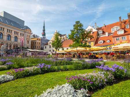 Riga, Latvia - July 8, 2018: People visit old city center at day time in summer