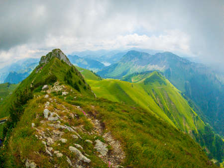 Summer landscape of Switzerland mountain nature at Rochers-de-Naye
