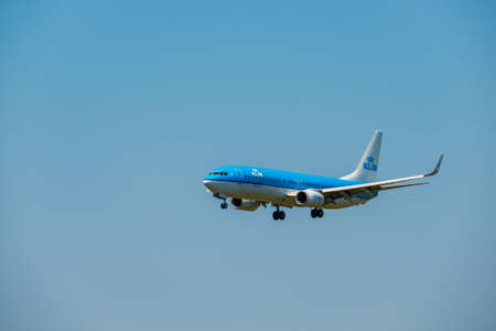 Zurich, Switzerland - July 19, 2018: KLM dutch airlines company  airplane preparing for landing at day time in international airport Editorial