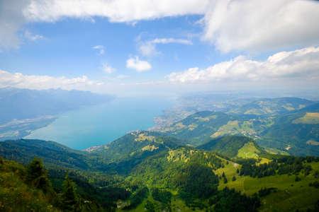 Aerial landscape of Geneva lake at summer time