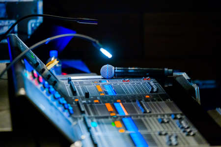 Broadcast audio and video equipment working at business conference