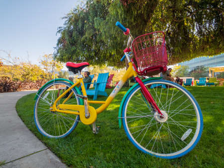 Mountain View, USA - September 25, 2018: Google bicycle in Googleplex headquarters main office Editorial